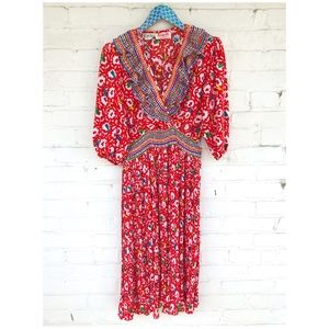 Assorti for Susan Freis 1980s Vintage Boho Dress
